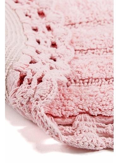 Giz Home Lace 2'li Set Klozet Takımı Oval Banyo Paspası Pembe Pembe